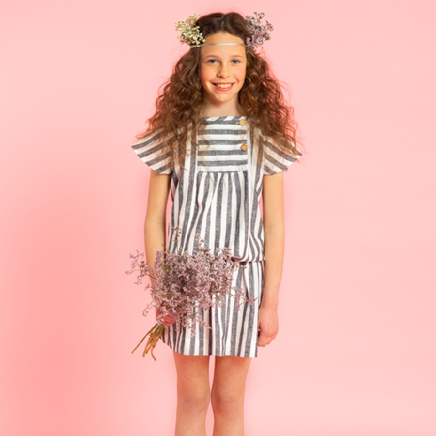 VESTIDO SMOCKING GOMA RAYA ANCHA ANTRACITA